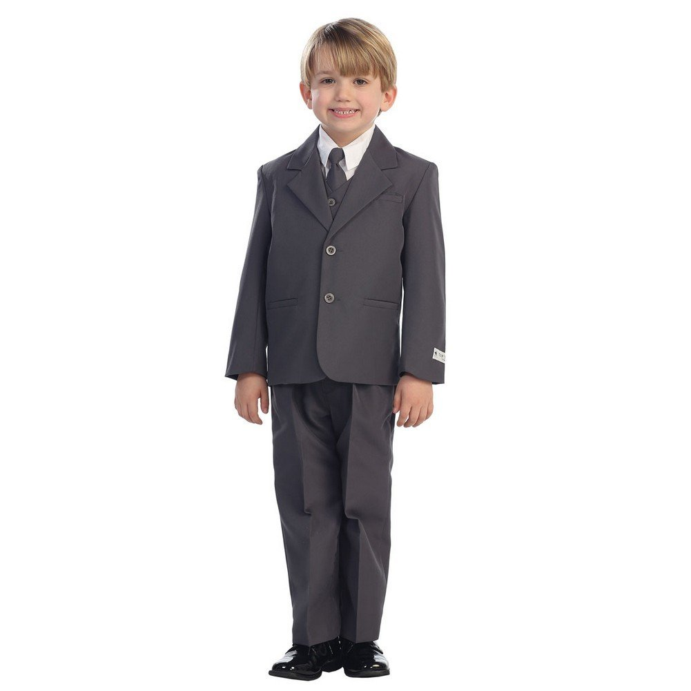 Baby Boys Charcoal Single Breasted Jacket Vest Shirt Tie Pants 5 Pc Suit 6-24M Tip Top Kids