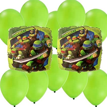 Amazon.com: 12 pc Ninja Turtles Party Balloons Kit: 2 Mylar ...