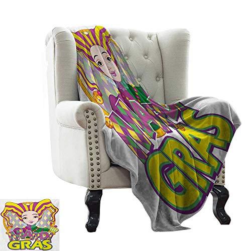 Acelik Lightweight Blanket Mardi Gras Carnival Girl in Harlequin Costume and Hat Cartoon Fat Tuesday Theme Plush Throw Blanket W60 x L80 Inch Yellow Purple Green