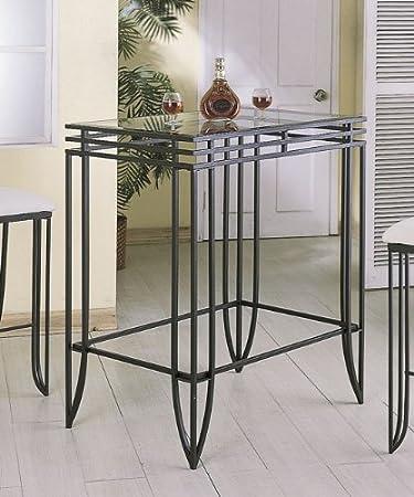 Ordinaire Matrix Design Black Wrought Iron Bar Table W/Clear Glass Top Insert