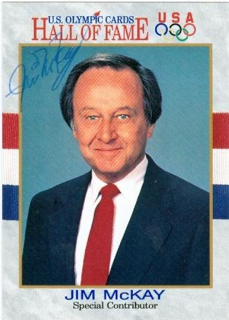 Jim McKay autographed card (Broadcaster ABC Wide World of Sports 1972 Munich Games) 1991 Impel #77