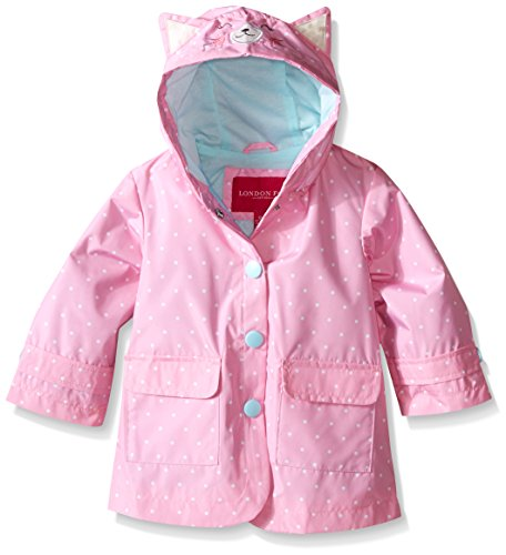 London Fog Baby Girls' Enhanced Radiance Kitty Cat Rain Slicker, Dot Print, 24 -