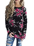 Sidefeel Women Casual Floral Printed Long Sleeve Blouse Tops XX-Large Black