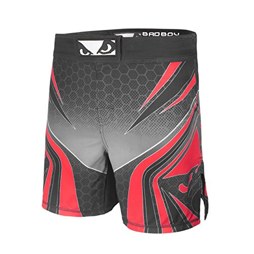(Bad Boy Legacy Training Fight Shorts Premium Diamond Dobby Professional MMA Mixed Martial Arts Fitness Workout Shorts Black/Red - Small)
