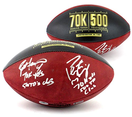 Brett Favre & Peyton Manning Autographed/Signed Wilson Authentic 70K Yards & 500 TDs NFL Football with Yardage & TD Inscription LE of 150