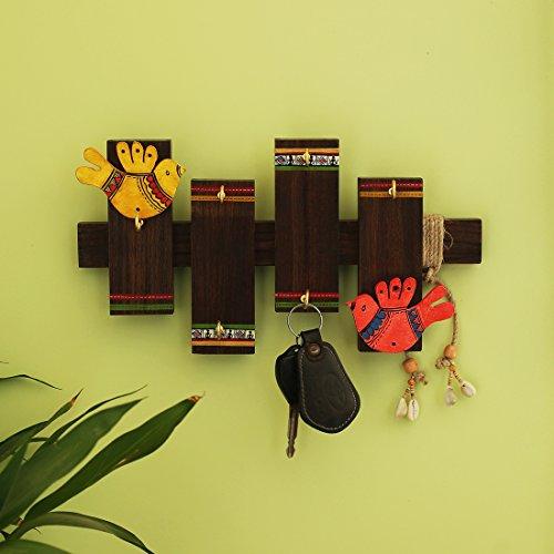 ExclusiveLane Warli Hand-Painted Key Holder in Wood (6 Hooks) - Key Rack Key Organizer Hooks Key Hangers for Wall Key Hook Key Holder for Wall Wall Hanger Wall Décor Wall ()