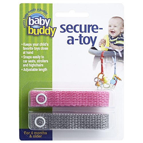Baby Buddy Secure-A-Toy, Safety Strap Secures Toys, Teether, or Pacifiers to Strollers, Highchairs, Car Seats—Adjustable Length to Keep Toys Sanitary Clean Pink-Gray 2 Count