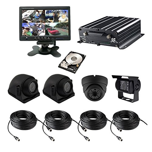 TrackSec 4 Channel AHD 720P HDD Mobile DVR Recorder with G-sensor Car Black Box Kit - 4PCS 720P Car Cameras, 7 inch Car Monitor, 2TB HDD, Cords and More 4 Channel 2.5' Lcd