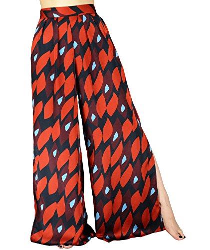 YSJ Women's Long Palazzo Pants Split Maxi Culottes Wide Leg Trousers (8-10, Red)