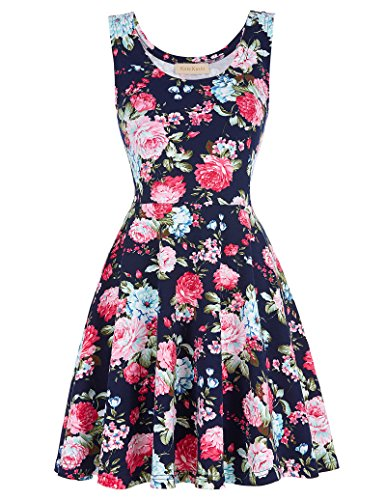 Women's Round Neck Sleeveless Casual Dress for Holiday Navy 297-4_M