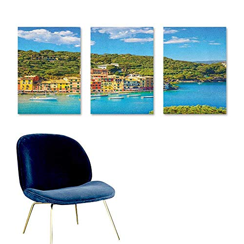 (Italy Original Oil Painting Portofino Landmark Aerial Panoramic View Village and Yacht Little Bay Harbor On Canvas Abstract Artwork 3 Panels 24x35inch Blue Green Yellow)