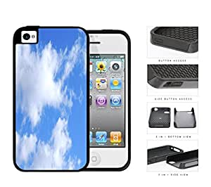 Prairie Scenery Cloud Patches In Blue Sky 2-Piece Dual Layer High Impact Rubber Silicone Cell Phone Case Apple iPhone 4 4s
