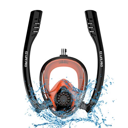 EZ LIFE PRO 2019 Snorkel Mask Full Face Snorkel Gear Set for Men,Women,Kids and Adults. Dry Panoramic 180 Degree View,Anti-Fog,Anti-Leak for Diving and Safe Breathing. (Black+Orange, L/XL) (Best Scuba Goggles 2019)