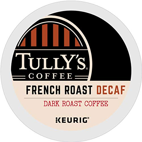 Tully's Coffee, French Roast Decaf, Single-Serve Keurig K-Cup Pods, Dark Roast Coffee, 96 Count (4 Boxes of 24 Pods) by Tully's