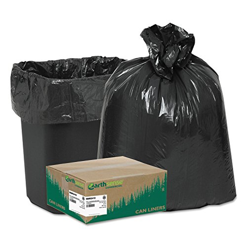 Earthsense Commercial - Recycled Can Liners, 7-10gal.65mil, 24 x 23, Black, 500/Carton RNW2410 (DMi C by Earthsense Commercial