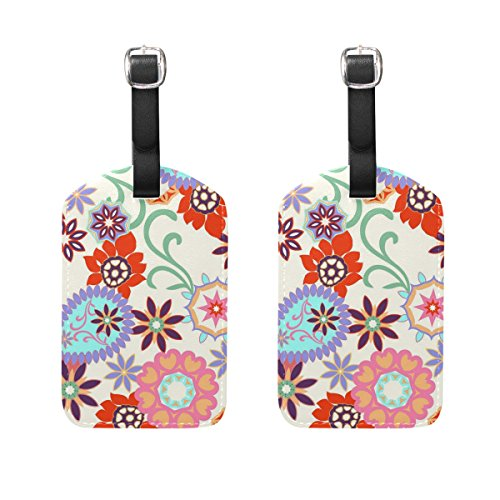Set of 2 Luggage Tags Flower Paisley Suitcase Labels Travel ()