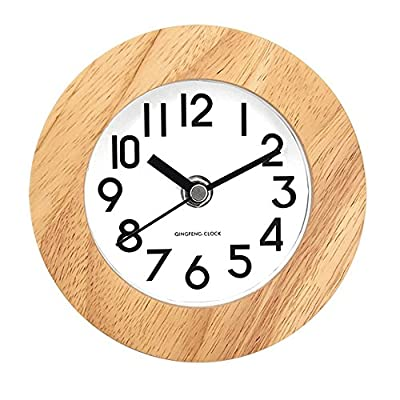 DEEPPRO Silent Square Shape Non Ticking Digital Quiet Sweep Wooden Desk Clock and Table clock (AC11) - Beech wood frame with concise dial face dressing up any room Clear and comfortable visual sense technology for easily exact time reading Large numbers and glass front cover guarantee good view - clocks, bedroom-decor, bedroom - 51evJT3vI7L. SS400  -