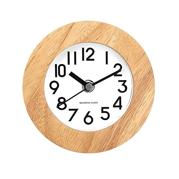 DEEPPRO Silent Square Shape Non Ticking Digital Quiet Sweep Wooden Desk Clock and Table clock (AC11) - Beech wood frame with concise dial face dressing up any room Clear and comfortable visual sense technology for easily exact time reading Large numbers and glass front cover guarantee good view - clocks, bedroom-decor, bedroom - 51evJT3vI7L. SS570  -