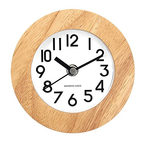 51evJT3vI7L - DEEPPRO Silent Square Shape Non Ticking Digital Quiet Sweep Wooden Desk Clock and Table clock