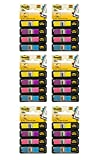 Post-it Flags,0.5 Inch, Assorted Bright colors, (4 Dispensers) 6 Pack (683-4AB)