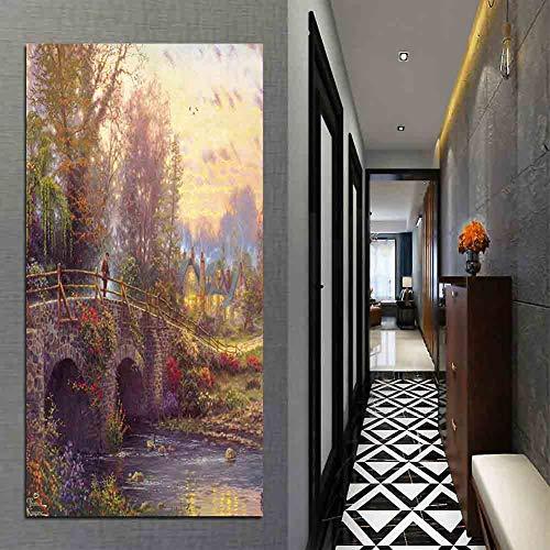 Art Painting Thomas Kinkade Paintings Quiet Bridge Water Golden Sunshine