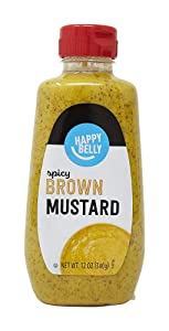 Amazon Brand - Happy Belly Spicy Brown Mustard, Kosher, 12 Ounce