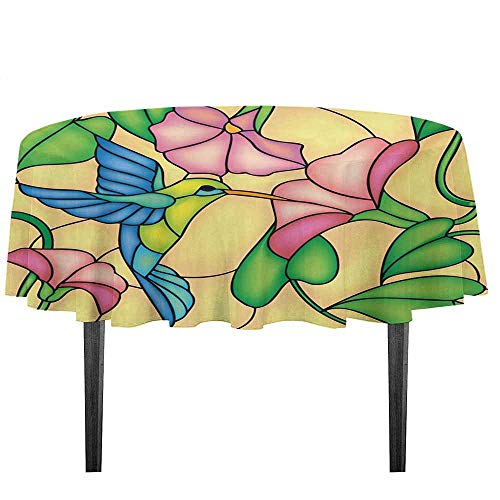 - kangkaishi Hummingbird Leakproof Polyester Tablecloth Stained Glass Style Bird and Hibiscus Tropical Flora and Fauna Illustration Outdoor and Indoor use D51.18 Inch Multicolor