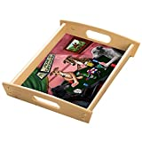 Home of Greyhound 4 Dogs Playing Poker Wood Serving Tray with Handles Natural