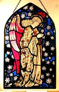 Decorative Hand Painted Stained Glass Arch Shape Church Panel in an Angel Praying William Morris Design. (18 x 11cm (7 x 4.5 - Stained Angel Glass