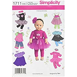 Simplicity 1711 18-Inch Doll Clothes Sewing Pattern, Size OS (One Size)