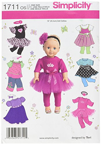 (Simplicity 1711 18-Inch Doll Clothes Sewing Pattern, Size OS (One Size))