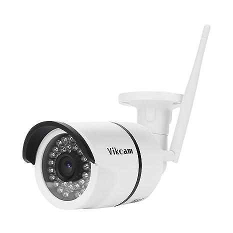 Telecamera Esterno WiFi, Vikcam IP Camera Da Sicurezza Senza Fili 720P  Impermeabile Videocamera Di Sorveglianza