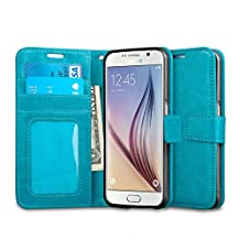 Galaxy S6 Case, J&D [Stand View] Samsung Galaxy S6 Wallet Case [Slim Fit] [Stand Feature] Premium Protective Case Wallet Leather Case for Samsung Galaxy S6 (Aqua)