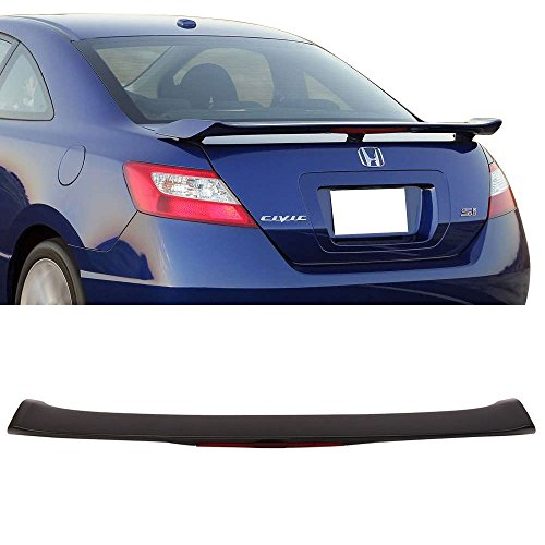 Trunk Spoiler Fits 2006-2011 Honda Civic 2-Door | Unpainted Black ABS Added On Rear Deck Lip Wing With 3rd Brake LED Light Bodykits by IKON MOTORSPORTS | 2007 2008 2009 2010 ()