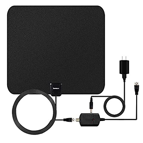 TV Antenna, Sumasun 50 Miles Indoor HDTV Antenna for Digital TV with Detachable Amplifier Signal Booster, 16.5FT High Performance Coaxial Cable, Upgraded Version Better (Uhf To Hdmi Adaptors)