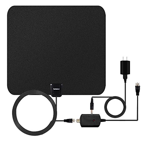 Price comparison product image TV Antenna, Sumasun 50 Miles Indoor HDTV Antenna for Digital TV with Detachable Amplifier Signal Booster, 16.5FT High Performance Coaxial Cable, Upgraded Version Better Reception(Black)