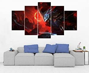 SDFFD Creative Gift 5 Panel Canvas Wall Art Canvas Prints 5 Pieces Modern Home Living Room Decor Bedroom Decor Yasuo – League of Legends – Gaming Hd Print Poster