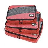 Meltset 3pcs/Set Waterproof Travel Organizers Packing Cubes Large Medium Small Cloth coat Luggage Storage Bag Red