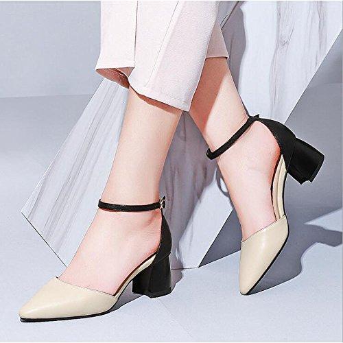Shoe Fibbia 35 carrucola Colore Dimensioni store Donna Sandali da Tallone Beige Punta Scarpe rIZrUwq