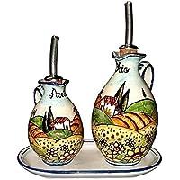 CERAMICHE D'ARTE PARRINI - Italian Ceramic Set Cruet Oil Vinegar Art Pottery Hand Painted Made in ITALY Tuscan