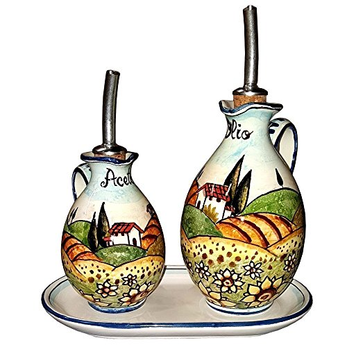 CERAMICHE D'ARTE PARRINI - Italian Ceramic Set Cruet Oil Vinegar Art Pottery Hand Painted Made in ITALY Tuscan (Tuscan Ceramic Olive)