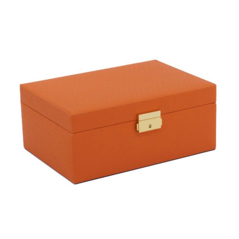 10 Inch Premium Luxury Rectangle Leather Jewelry Organizer Box in Orange with Gold Key Lock & Mirror