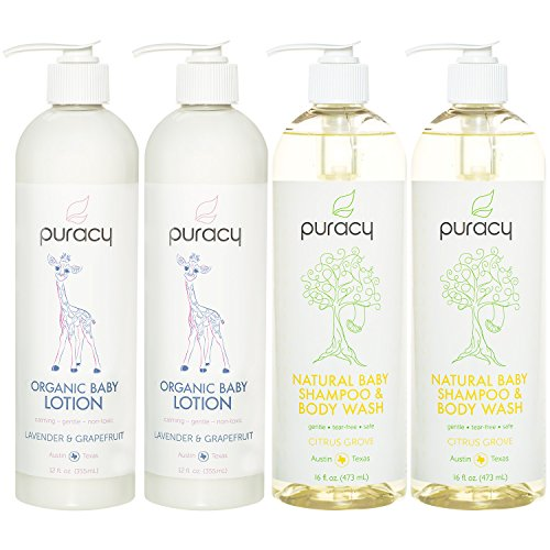 Puracy Organic Baby Care Gift Set, Nontoxic Moisturizing Lotion, Natural Baby Shampoo (4-Pack)
