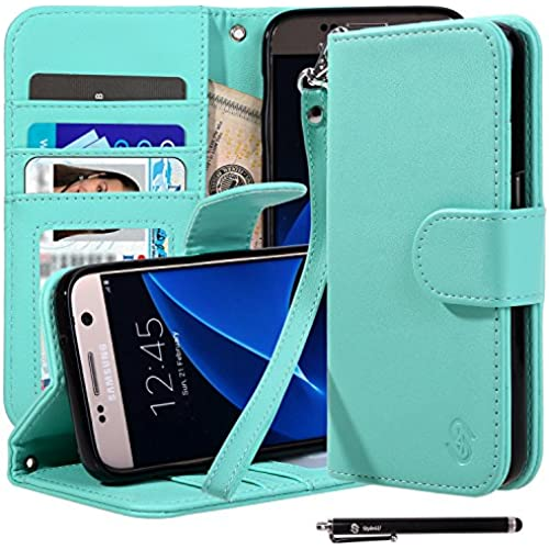 S7 Case, Galaxy S7 Case, Style4U Premium PU Leather Stand Wallet Case with ID Credit Card / Cash Slots for Samsung Galaxy S7 with 1 Stylus [Mint Green] Sales
