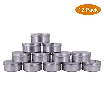 candles,crafts,storage,survival 2 Pack 4 Oz Flat Round Metal Tin Container