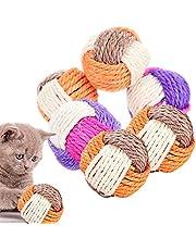 6 delar kattleksak boll interaktiv sisal boll leksak kattunge bollar katt lek tuggleksak katt rullande boll hållbar skrapa för katter kattunge hund träning leka tugga (slumpmässig färg)