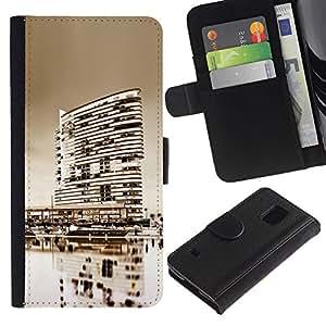 Ihec-Tech / Flip PU Cuero Cover Case para Samsung Galaxy S5 V SM-G900 - Black & White City