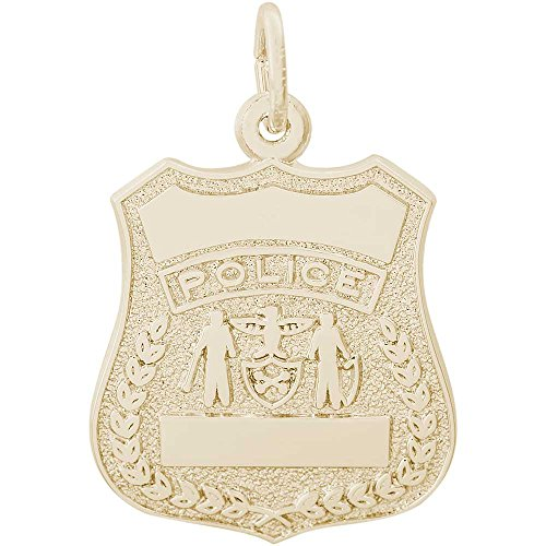 - Rembrandt Charms Police Badge Charm, 14K Yellow Gold
