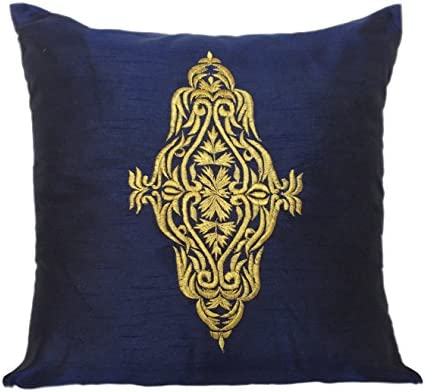 Superb The White Petals Navy Blue Throw Pillow For Couch Navy Blue Gold Accent Pillow For Bed Embroidered Damask Pillow Cover Navy Blue 18X18 Inches Andrewgaddart Wooden Chair Designs For Living Room Andrewgaddartcom