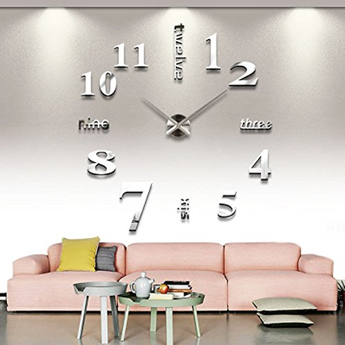 3D DIY Large Wall Sticker Mirror Acrylic Glass Clock For Home Office Decoration Sliver - 3